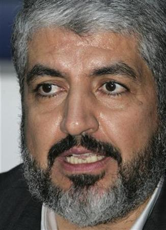 Hamas leader Khaled Meshaal speaks during a news conference after a meeting with the other Palestinian factions in Damascus October 24, 2009. REUTERS/Khaled al-Hariri
