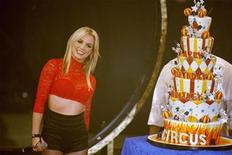 """<p>Singer Britney Spears receives a birthday cake after performing on ABC's """"Good Morning America"""" in New York on December 2, 2008. REUTERS/Lucas Jackson</p>"""
