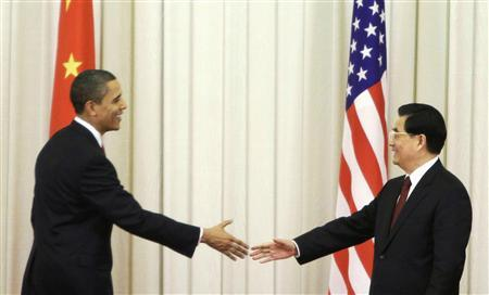 President Barack Obama and China's President Hu Jintao shake hands after making a joint statement at the Great Hall of the People in Beijing November 17, 2009. REUTERS/Jason Lee