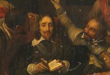 """<p>Detalhe da obra de Paul Delaroche, """"Charles I Insultado por Soldados de Cromwell"""", em imagem divulgada em Londres no dia 24 de novembro de 2009. A pintura mostra o monarca britânico pouco antes da sua execução, em 1649. A tela foi danificada por um bombardeio da Segunda Guerra Mundial que atingiu a Bridgewater House, em Londres, em 1941. REUTERS/The National Gallery/Handout</p>"""