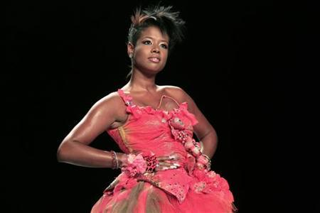Kelis displays a creation at the Heatherette show during Spring 2007 Fashion Week in New York City September 12, 2006. REUTERS/Eric Thayer
