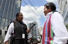 <p>Journalist Rosa Inaguan conducts an interview for the state Ecuador TV station in Quechua, the native language of the Incas, in Quito November 19, 2009. Quechua speakers live along the Andes, from Argentina and Chile in the south to Colombia in the north, where it's called ingano. Estimates of Quechua speakers range from 6 million to 13 million, but linguists say that even now some Andeans still won't tell census takers they speak the language because of its long association with backwardness and low social status. REUTERS/Guillermo Granja</p>