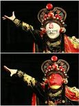 <p>A combination photo shows an actor performing face-changing with a Beijing Olympic mask (top) and a Chinese national flag mask during a Sichuan Opera show in Suining, Sichuan province July 7, 2008. REUTERS/Stringer</p>
