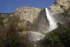 <p>A rainbow forms at the foot of Bridalveil Fall in Yosemite Valley at Yosemite National Park in California April 19, 2008. REUTERS/Darrin Zammit Lupi</p>