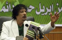 <p>Libyan leader Muammar Gaddafi delivers a speech to mark the 33rd anniversary of the student's revolution in Sirte, about 600 km (370 miles) east of Tripoli, April 7, 2009. REUTERS/Ismail Zetouny</p>