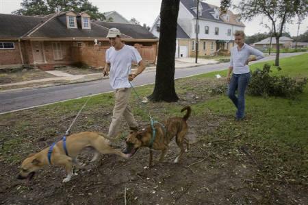 3月15日、米調査によると、出張中に恋しくなるのはパートナーより犬と答えた人が3割に上った。写真はニューオーリンズ州のレイクビュー地区で犬の散歩をする飼い主。2008年9月撮影(2010年 ロイター/Lee Celano)