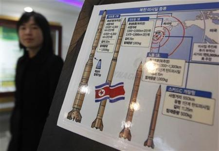 A Japanese visitor walks past a board depicting North Korea's missile system displayed at the Unification Observation Platform, just south of the demilitarized zone (DMZ) separating the two Koreas in Paju, about 50 km (31 miles) north of Seoul November 18, 2009. REUTERS/Lee Jae-Won