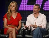 "<p>The host and guest judge of ""So You Think You Can Dance"" Cat Deeley (L) and guest judge Adam Shankman discuss the show at the Fox Summer Television Critics Association press tour in Pasadena, California August 6, 2009. REUTERS/Fred Prouser</p>"
