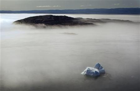 A large iceberg is seen on the edge of a morning fog over Frobisher Bay, Nunavut in the Canadian Arctic August 21, 2009. REUTERS/Andy Clark