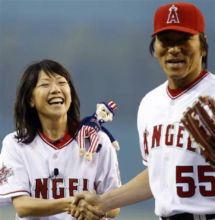 捕手を務めた松井秀喜を相手にノーバウンドで投球