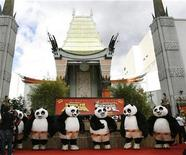 """<p>Panda characters stand on the red carpet at the DVD release of """"Kung Fu Panda"""" at the Grauman's Chinese theatre in Hollywood, California November 9, 2008. REUTERS/Mario Anzuoni</p>"""