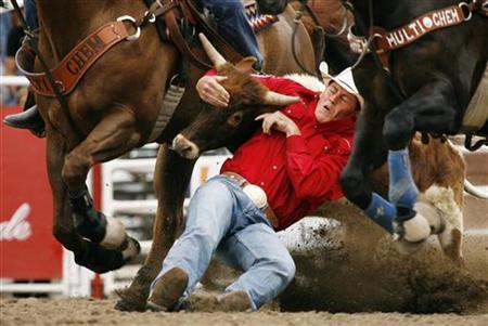 Cody Cassidy of Donalda, Alberta, wrestles a steer in the Steer Wrestling event during the Calgary Stampede Rodeo in Calgary, Alberta, July 5, 2009. REUTERS/Todd Korol
