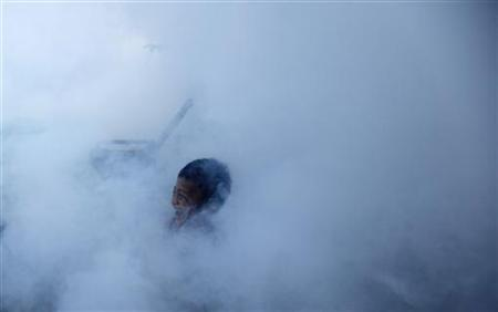 A child plays in the smoke during a fumigation exercise to rid the area of mosquitoes in Jakarta March 18, 2010. REUTERS/Beawiharta
