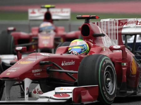 Ferrari Formula One driver Felipe Massa of Brazil drives his car during the Chinese F1 Grand Prix at Shanghai International Circuit April 18, 2010. Ferrari removed a controversial bar code livery from their Formula One cars on after suggestions that it represented subliminal advertising for cigarette sponsor Marlboro. REUTERS/Aly Song/Files