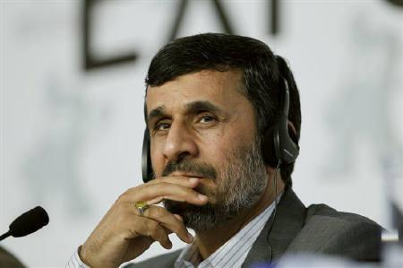 Iran's President Mahmoud Ahmadinejad speaks at a news conference at the Shanghai World Expo site, June 11, 2010. REUTERS/Aly Song