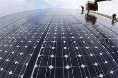 <p>Workers install solar panels on what will be the world's biggest integrated solar panel roof, 36,000 square metres spread over five hangars, at a farm in Weinbourg, Eastern France February 12, 2009. REUTERS/Vincent Kessler</p>