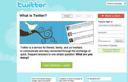 A screengrab of the homepage of microblogging serviceTwitter. REUTERS/www.twitter.com