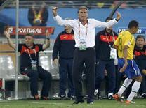 <p>Técnico de Portugal Carlos Queiroz reage durante partida com o Brasil pelo Grupo G da Copa, que terminou em 0 x 0. REUTERS/Yves Herman</p>