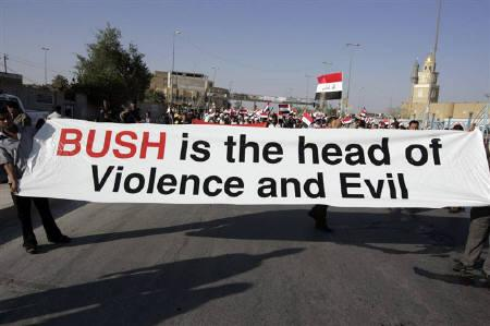 Residents protest against U.S. Vice President Joe Biden's visit in Najaf, 160 km (100 miles) south of Baghdad July 4, 2010. Biden on Sunday met Iraqi leaders locked in an impasse four months after an inconclusive vote and expressed hope they would not delay much longer in forming a government, Iraqi officials said. REUTERS/Ali Abu Shish
