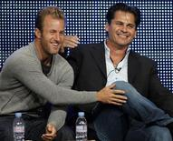 <p>Co-star of Hawaii Five-O Scott Caan (L) and Executive Producer Peter Lenkov joke during the CBS, Showtime and the CW Television Critics Association press tour in Beverly Hills, California, July 28, 2010. REUTERS/Lucy Nicholson</p>