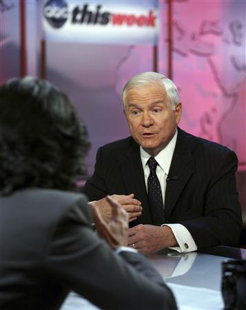 ABC News' Christiane Amanpour interviews U.S. Defense Secretary Robert Gates (R) during Amanpour's premiere broadcast on the set of ''This Week'' at the Newseum in Washington, in this photograph taken on July 30, 2010 and released on July 31. The interview airs on August 1. REUTERS/Martin H. Simon/ABC News/Handout