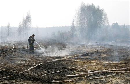 A firefighter works to extinguish a peat fire in a forest near the town of Shatura, some 130 km (81 miles) southeast of Moscow, July 27, 2010. REUTERS/Denis Sinyakov