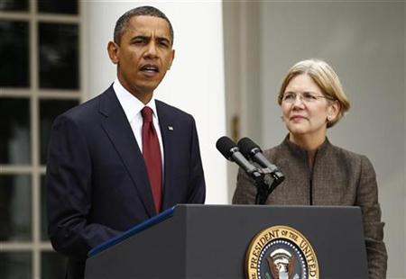 U.S. President Barack Obama announces consumer advocate Elizabeth Warren (R) as special adviser leading the creation of the Consumer Financial Protection Bureau in the Rose Garden of the White House in Washington September 17, 2010. REUTERS/Kevin Lamarque