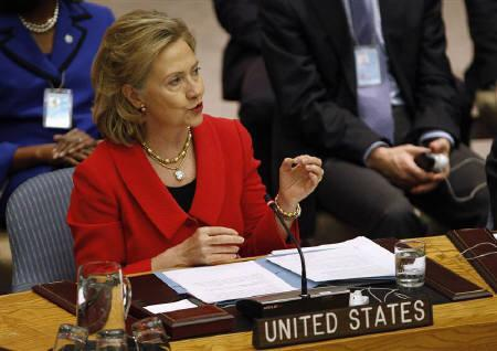 U.S. Secretary of State Hillary Clinton delivers remarks during a Security Council meeting at the U.N. headquarters in New York October 26, 2010. REUTERS/Jessica Rinaldi