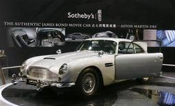 """<p>The original Aston Martin DB5, driven by actor Sean Connery in the James Bond films """"Goldfinger"""" and """"Thunderball"""", is on display at the venue of Sotheby's Autumn Sales in Hong Kong October 4, 2010. REUTERS/Bobby Yip</p>"""