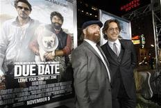 """<p>Cast member Robert Downey Jr. (R) poses with co-star Zach Galifianakis at the premiere of """"Due Date"""" at the Grauman's Chinese theatre in Hollywood, California October 28, 2010. REUTERS/Mario Anzuoni</p>"""
