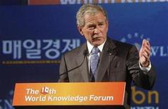 <p>Former U.S. President George W. Bush speaks at the World Knowledge Forum in Seoul October 14, 2009. REUTERS/Maeil Business Newspaper/Handout</p>