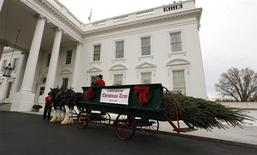 <p>The 2010 White House Christmas Tree arrives at the White House in Washington, November 26, 2010. REUTERS/Larry Downing</p>