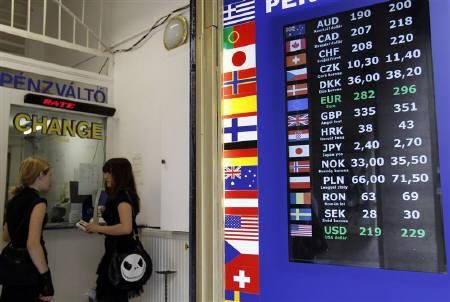Currency exchange rates are displayed at a money changer in Budapest, July 19, 2010.   REUTERS/Laszlo Balogh/Files