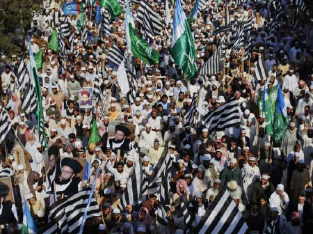 Thousands of supporters of various religious parties wave their party flags while rallying in support of Pakistan's blasphemy laws in Karachi January 9, 2011. REUTERS/Akhtar Soomro