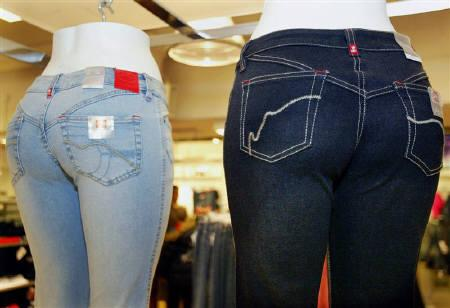 A group of buxom bottom mannequins are shown at the EckoRed jeans display at Macy's in New York, November 11, 2004. REUTERS/Jeff Christensen