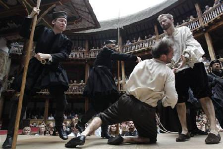 Actors perform in Shakespeare's Henry VIII at the Globe theatre in London July 6, 2010. The theatre will stage 38 of Shakespeare's plays each in a different language in the run-up to the Olympic Games in London in 2012. REUTERS/Luke MacGregor/Files