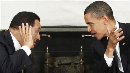 President Barack Obama meets with his Egyptian counterpart Hosni Mubarak at the White House in Washington in this August 18, 2009 file photo. REUTERS/Jim Young/Files