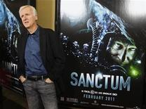 """<p>Filmmaker James Cameron, executive producer of """"Sanctum"""", arrives at the film's premiere in Hollywood, January 31, 2011. REUTERS/Fred Prouser</p>"""
