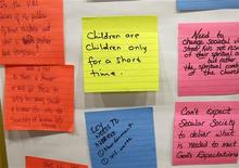 <p>Post-it notes with thoughts from a brainstorming session are seen at the Innovations meeting room at the Focus on the Family headquarters in Colorado Springs, Colorado July 20, 2007. REUTERS/Rick Wilking</p>