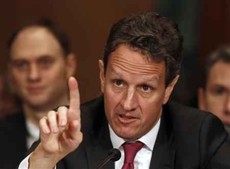 Secretary of Treasury Timothy Geithner gestures while testifying before the Senate Finance Committee on Capitol Hill in Washington, February 16, 2011. REUTERS/Larry Downing