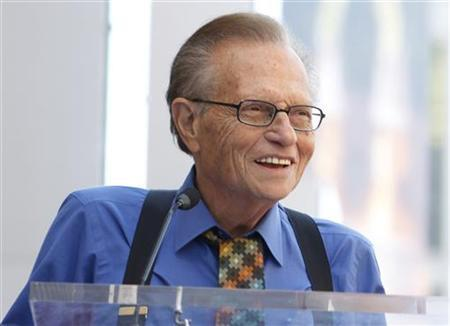 Larry King speaks at ceremonies unveiling comedian Bill Maher's star on the Hollywood Walk of Fame in Hollywood September 14, 2010. REUTERS/Fred Prouser
