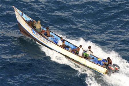 A suspected pirate skiff near Somalia's northern port town of Bossaso, June 16, 2009. REUTERS/NATO