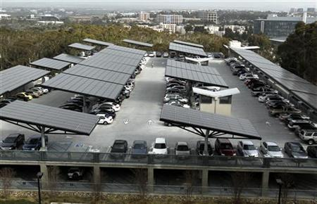 A parking structure at the University of California San Diego uses innovative solar trees to collect renewable energy from the Sun February 8, 2011. REUTERS/Mike Blake