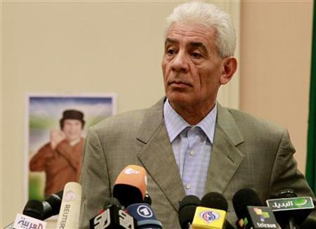 Libya's Foreign Minister Moussa Koussa holds a news conference in Tripoli March 18, 2011. REUTERS/Zohra Bensemra
