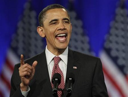 U.S. President Barack Obama speaks during a campaign event in Chicago, April 14, 2011. REUTERS/John Gress