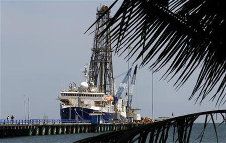 The JOIDES Resolution, a U.S. scientific vessel, is docked at Costa Rica's Pacific port of Puntarenas April 15, 2011. REUTERS/Juan Carlos Ulate