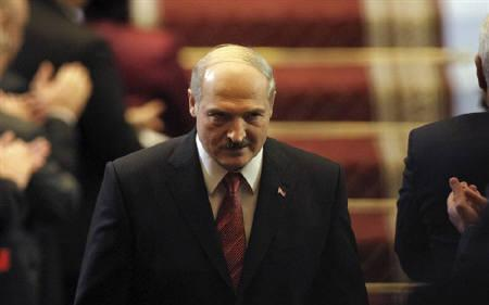 Belarus's President Alexander Lukashenko leaves the stage after his inauguration ceremony in Minsk January 21, 2011. REUTERS/Sergei Grits/Pool