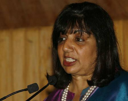 Kiran Mazumdar-Shaw speaks during a conference organised by The Energy and Resources Institute (TERI) in New Delhi August 19, 2008. REUTERS/B Mathur/Files