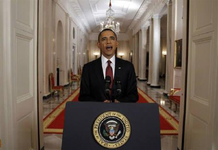 U.S. President Barack Obama is pictured after announcing live on television the death of Osama bin Laden, from the East Room of the White House in Washington May 1, 2011. REUTERS/Jason Reed