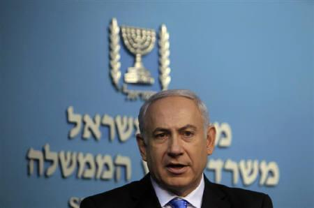 Israel's Prime Minister Benjamin Netanyahu speaks during a news conference at his Jerusalem office May 18, 2011. REUTERS/Ronen Zvulun